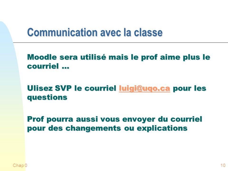 Communication avec la classe