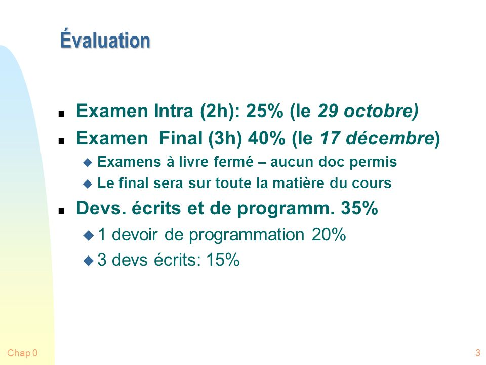 Évaluation Examen Intra (2h): 25% (le 29 octobre)