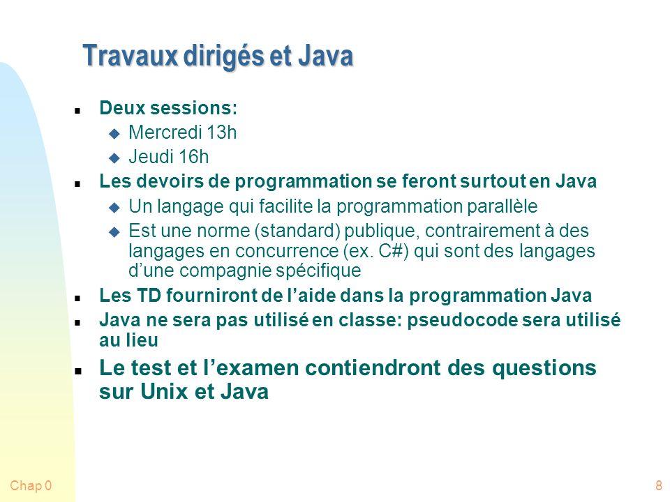 Travaux dirigés et Java