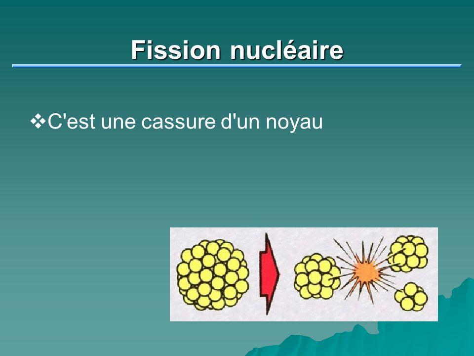 Fission nucléaire C est une cassure d un noyau