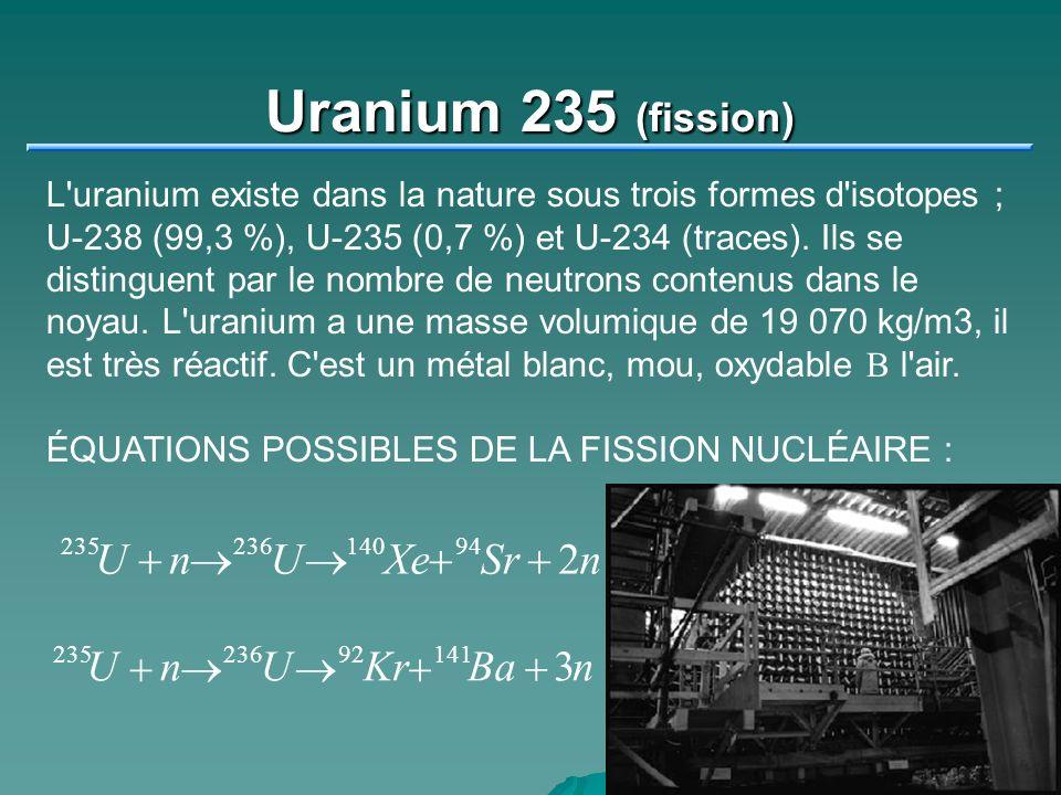 Uranium 235 (fission) U + n ® U ® Xe + Sr + 2 n U + n ® U ® Kr + Ba +
