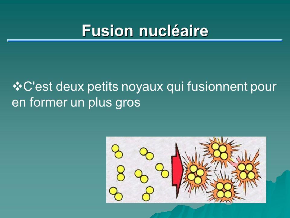 Fusion nucléaire C est deux petits noyaux qui fusionnent pour en former un plus gros