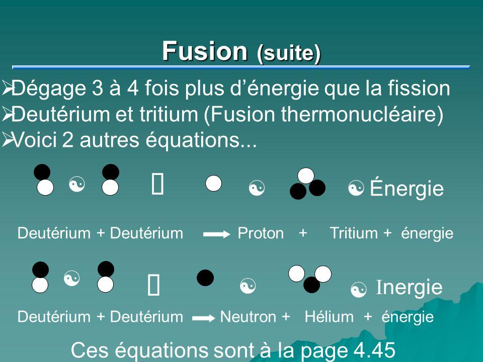 º º Fusion (suite) Dégage 3 à 4 fois plus d'énergie que la fission