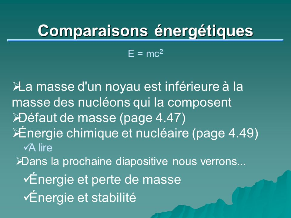 Comparaisons énergétiques
