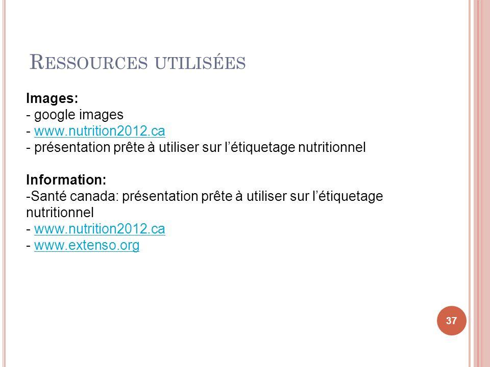 Ressources utilisées Images: google images www.nutrition2012.ca