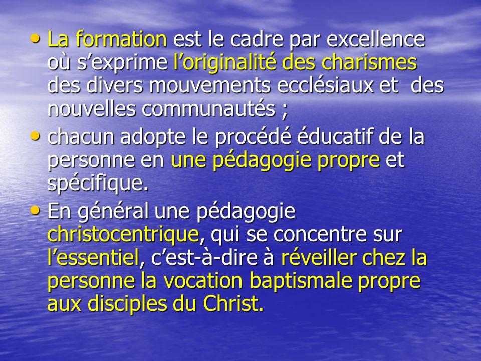 La formation est le cadre par excellence où s'exprime l'originalité des charismes des divers mouvements ecclésiaux et des nouvelles communautés ;