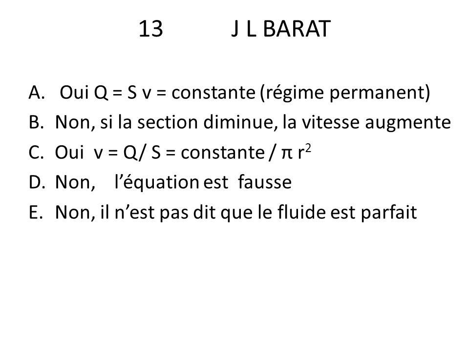 13 J L BARAT Oui Q = S v = constante (régime permanent)