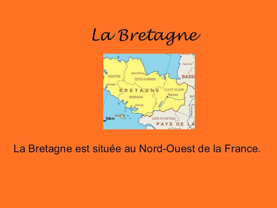 La Bretagne est située au Nord-Ouest de la France.