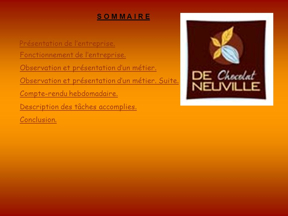 S O M M A I R E Présentation de l'entreprise. Fonctionnement de l'entreprise. Observation et présentation d'un métier.