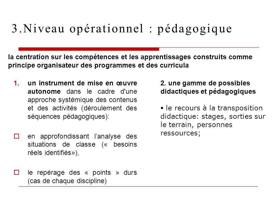 3.Niveau opérationnel : pédagogique
