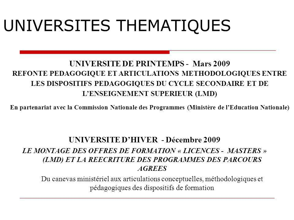 UNIVERSITES THEMATIQUES