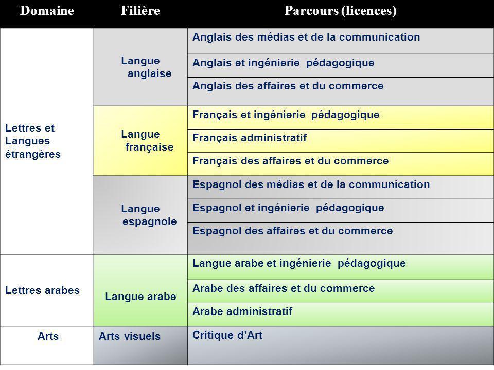 Domaine Filière Parcours (licences)
