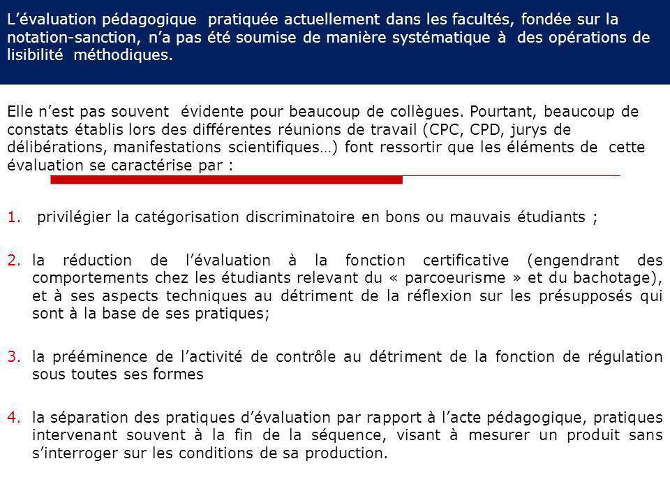 L'évaluation pédagogique pratiquée actuellement dans les facultés, fondée sur la notation-sanction, n'a pas été soumise de manière systématique à des opérations de lisibilité méthodiques.