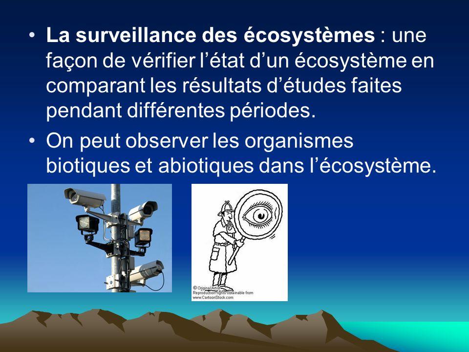La surveillance des écosystèmes : une façon de vérifier l'état d'un écosystème en comparant les résultats d'études faites pendant différentes périodes.