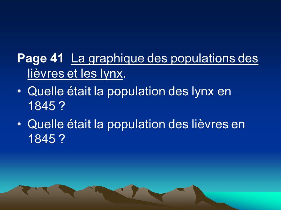 Page 41 La graphique des populations des lièvres et les lynx.