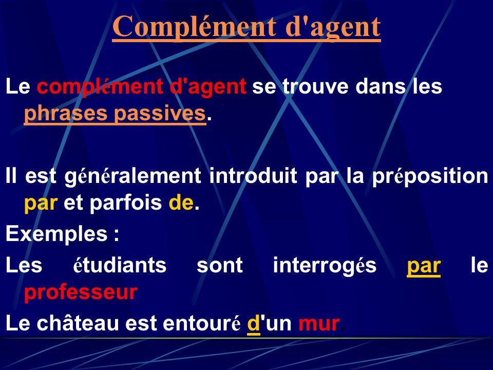 Complément d agent Le complément d agent se trouve dans les phrases passives. Il est généralement introduit par la préposition par et parfois de.