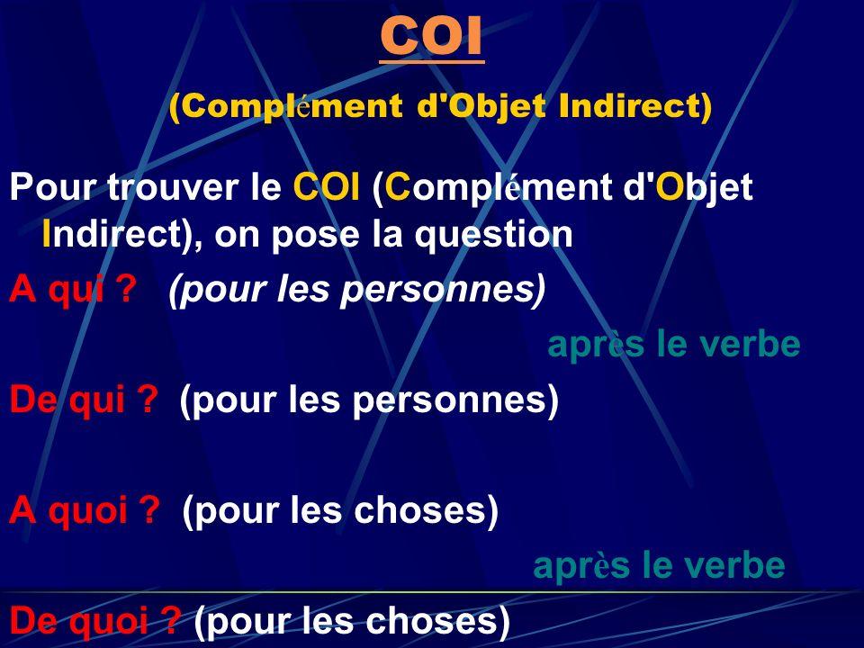 COI (Complément d Objet Indirect)