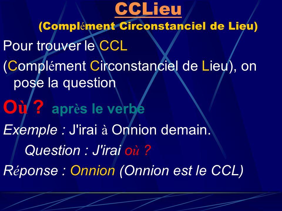 CCLieu (Complément Circonstanciel de Lieu)