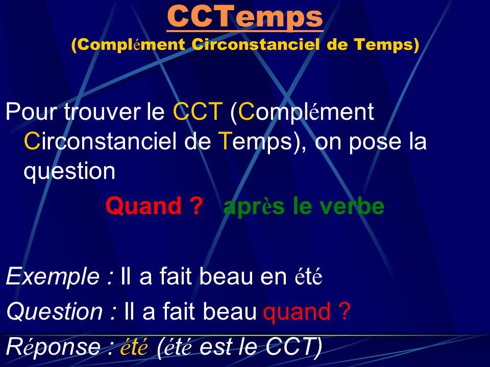 CCTemps (Complément Circonstanciel de Temps)