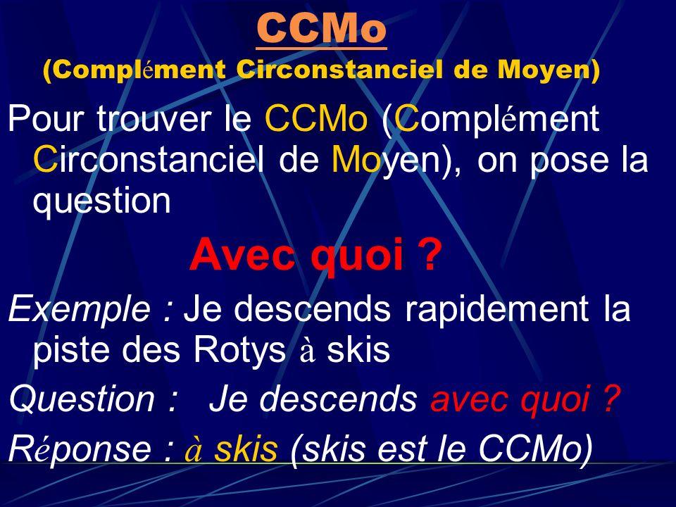CCMo (Complément Circonstanciel de Moyen)