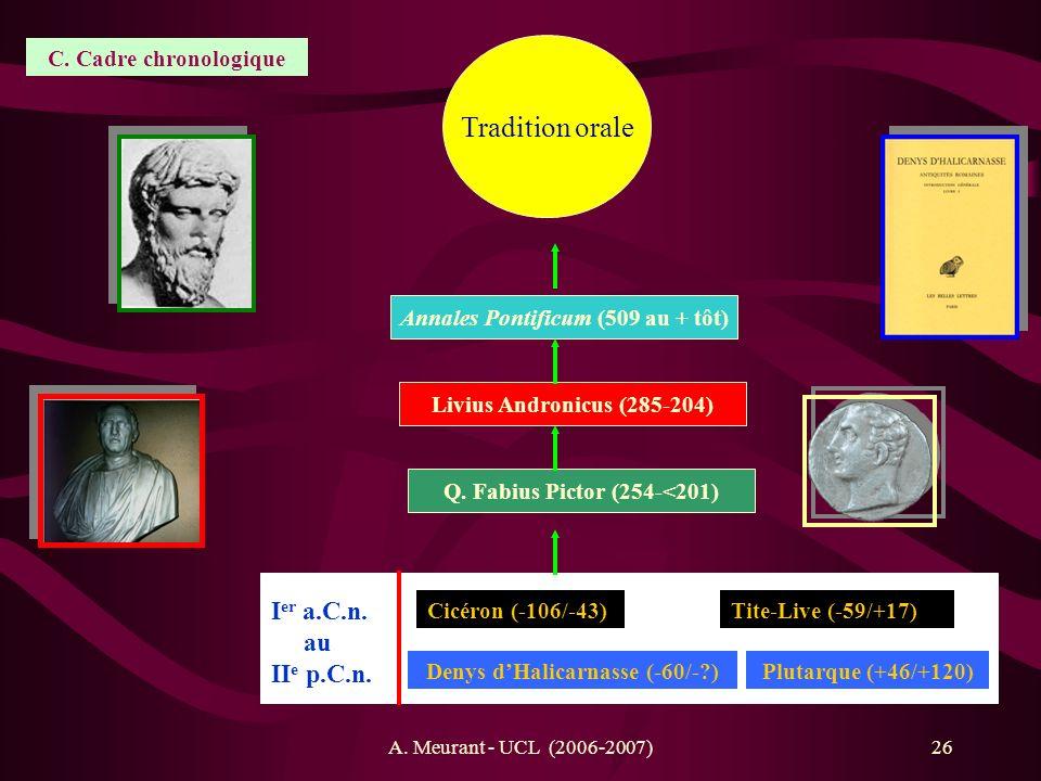 Tradition orale Ier a.C.n. au IIe p.C.n. C. Cadre chronologique