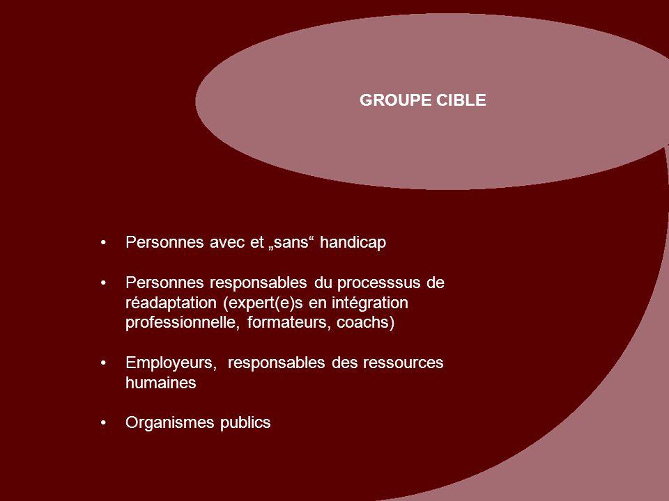 """GROUPE CIBLE Personnes avec et """"sans handicap."""