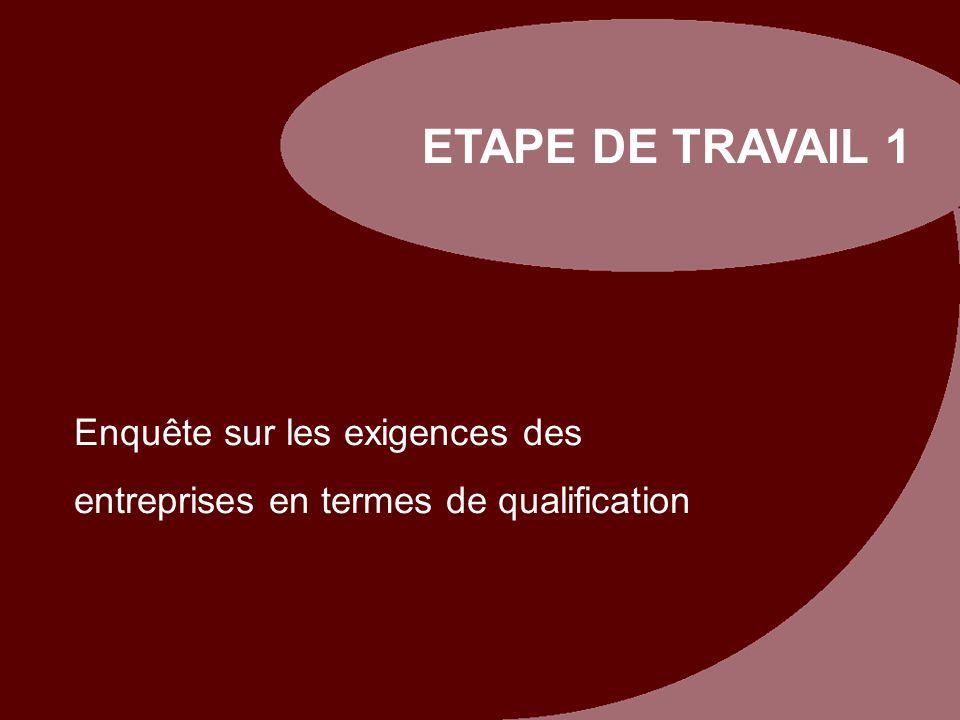 ETAPE DE TRAVAIL 1 Enquête sur les exigences des entreprises en termes de qualification. Pilotstudie zu betrieblichen Qualifikationsanforderungen.