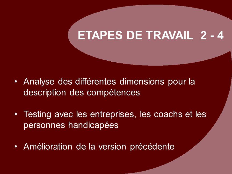 ETAPES DE TRAVAIL 2 - 4 Analyse des différentes dimensions pour la description des compétences.