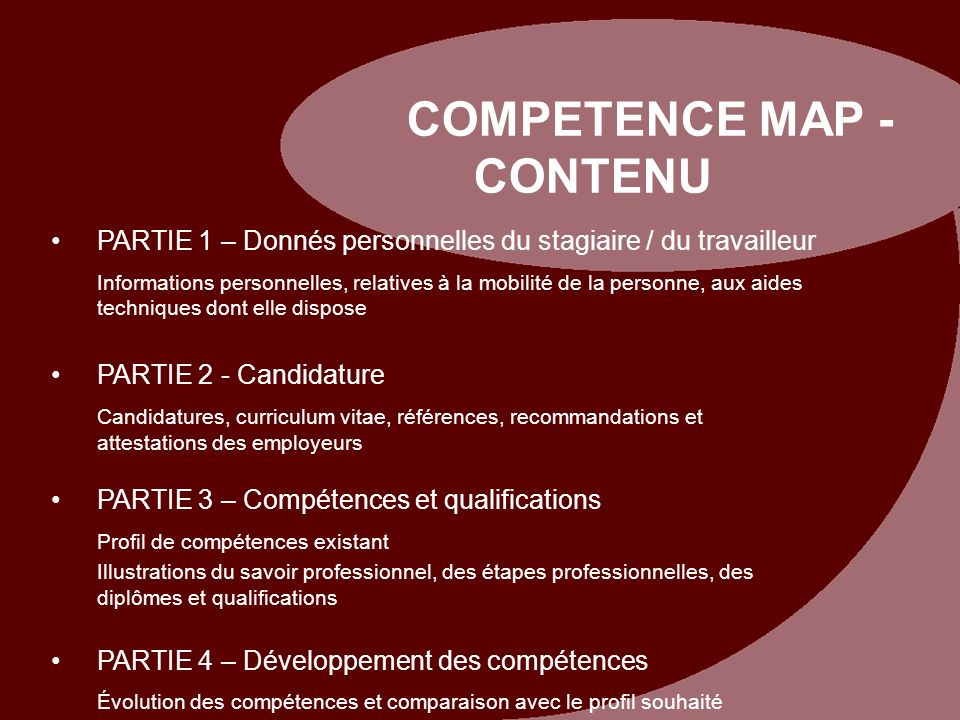 COMPETENCE MAP - CONTENU