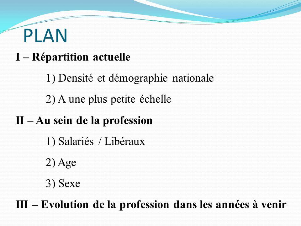 PLAN I – Répartition actuelle 1) Densité et démographie nationale