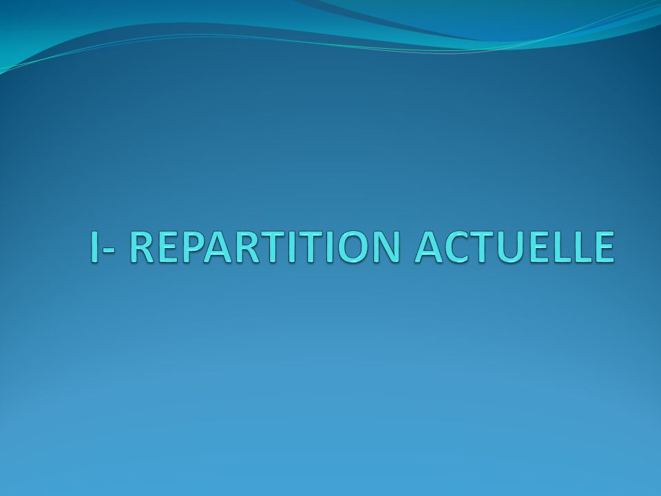 I- REPARTITION ACTUELLE