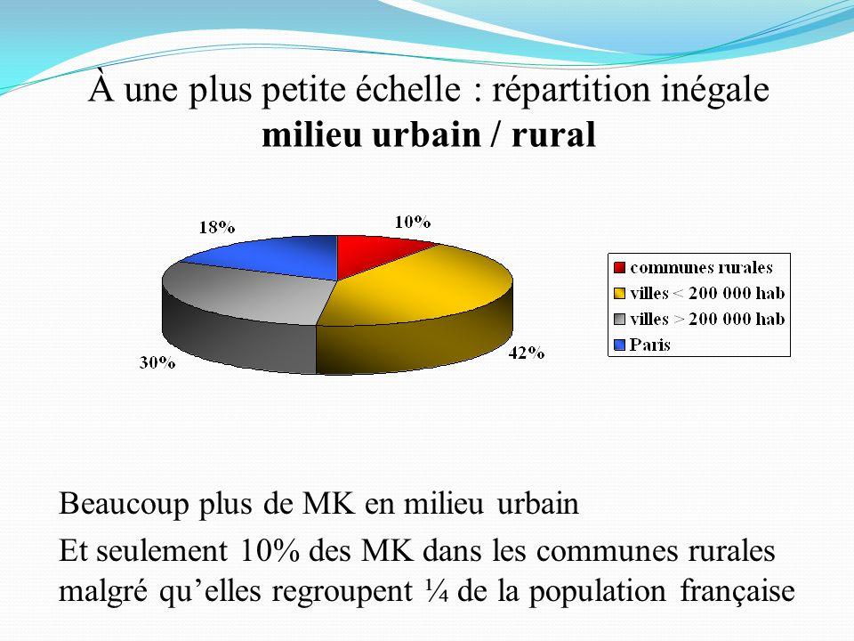 À une plus petite échelle : répartition inégale milieu urbain / rural