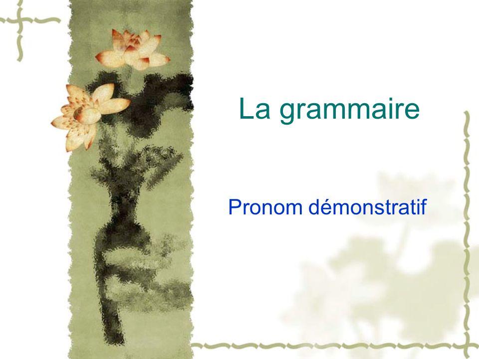 La grammaire Pronom démonstratif