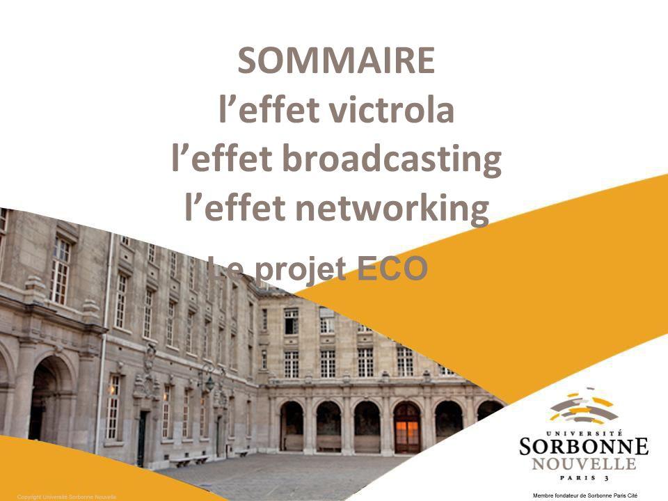 SOMMAIRE l'effet victrola l'effet broadcasting l'effet networking