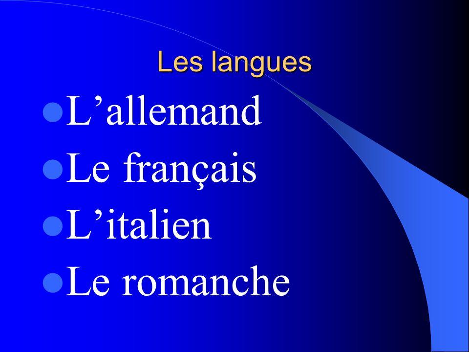 Les langues L'allemand Le français L'italien Le romanche