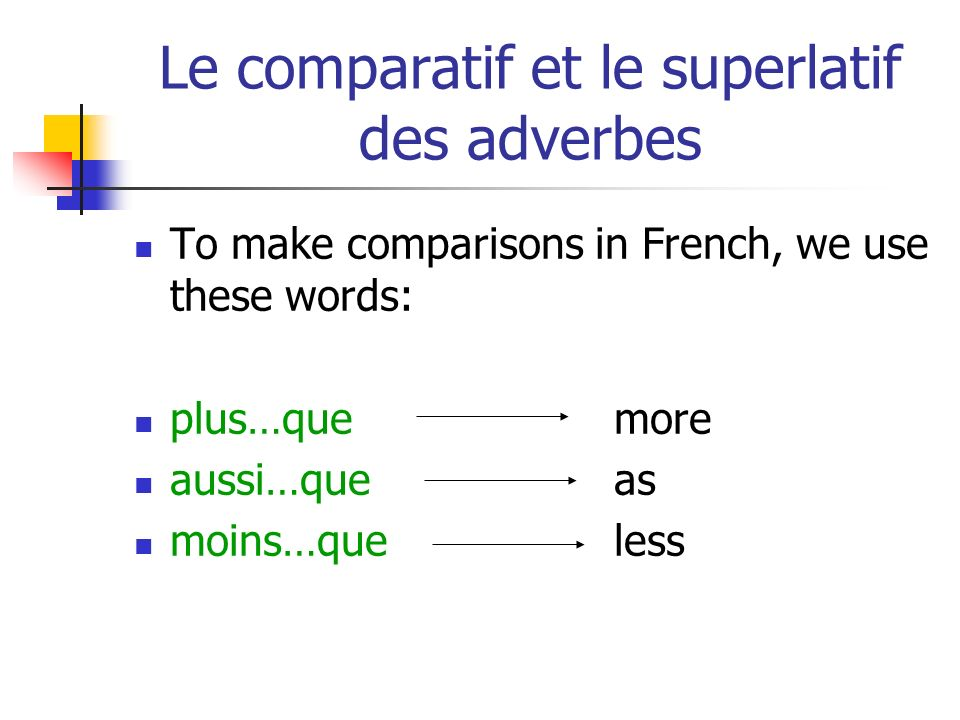 Le comparatif et le superlatif des adverbes