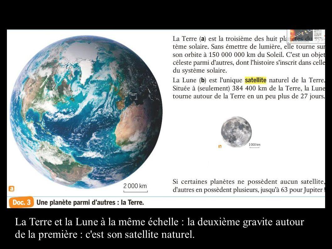 La Terre et la Lune à la même échelle : la deuxième gravite autour de la première : c est son satellite naturel.