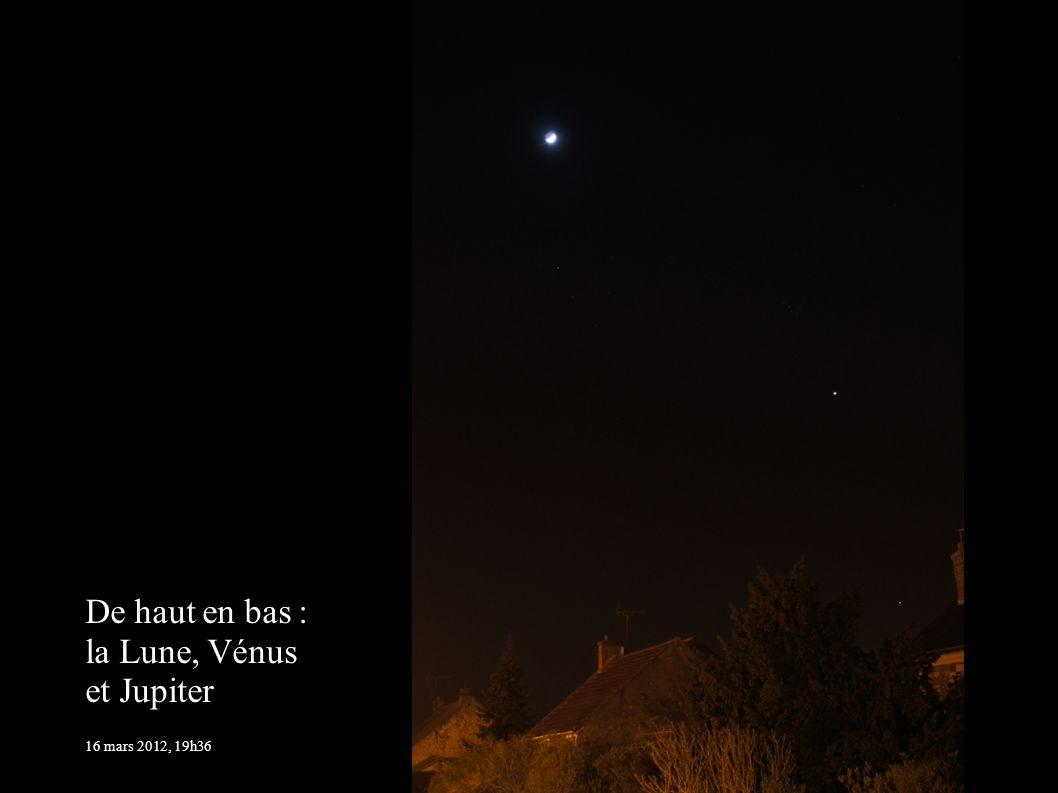 De haut en bas : la Lune, Vénus et Jupiter