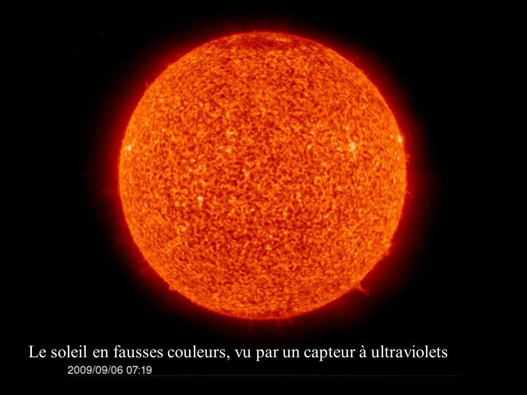 Le soleil en fausses couleurs, vu par un capteur à ultraviolets