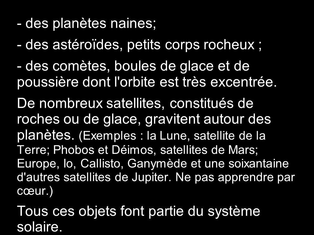 - des planètes naines; - des astéroïdes, petits corps rocheux ; - des comètes, boules de glace et de poussière dont l orbite est très excentrée.