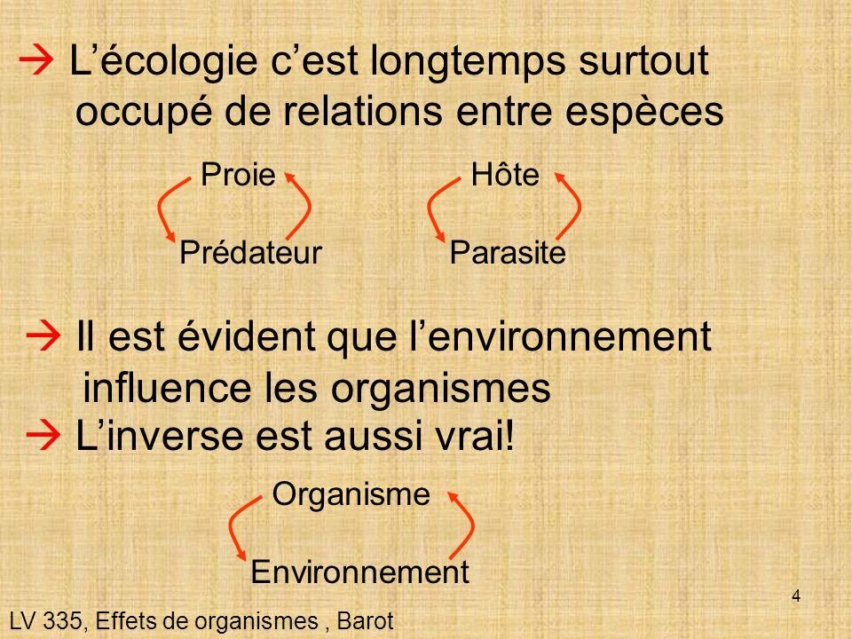 L'écologie c'est longtemps surtout occupé de relations entre espèces