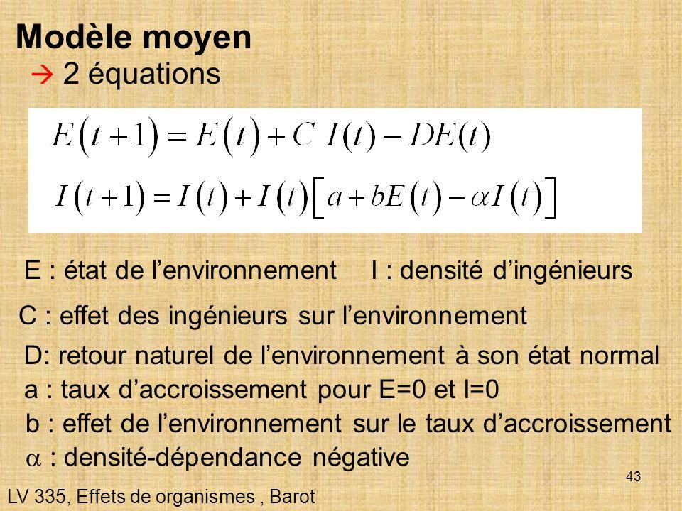 Modèle moyen  2 équations E : état de l'environnement