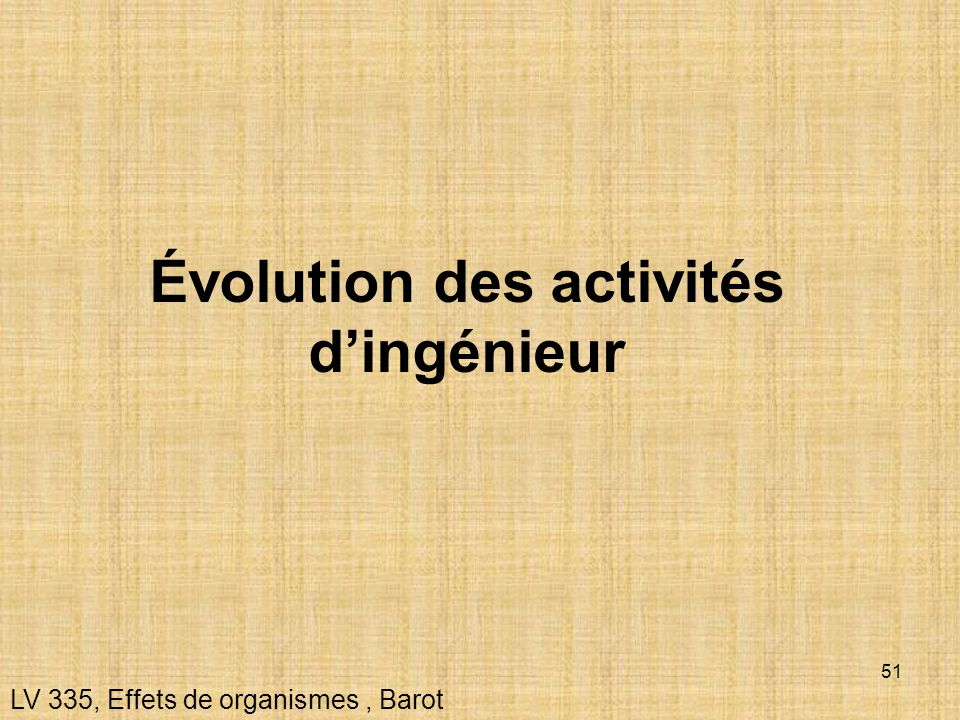 Évolution des activités d'ingénieur