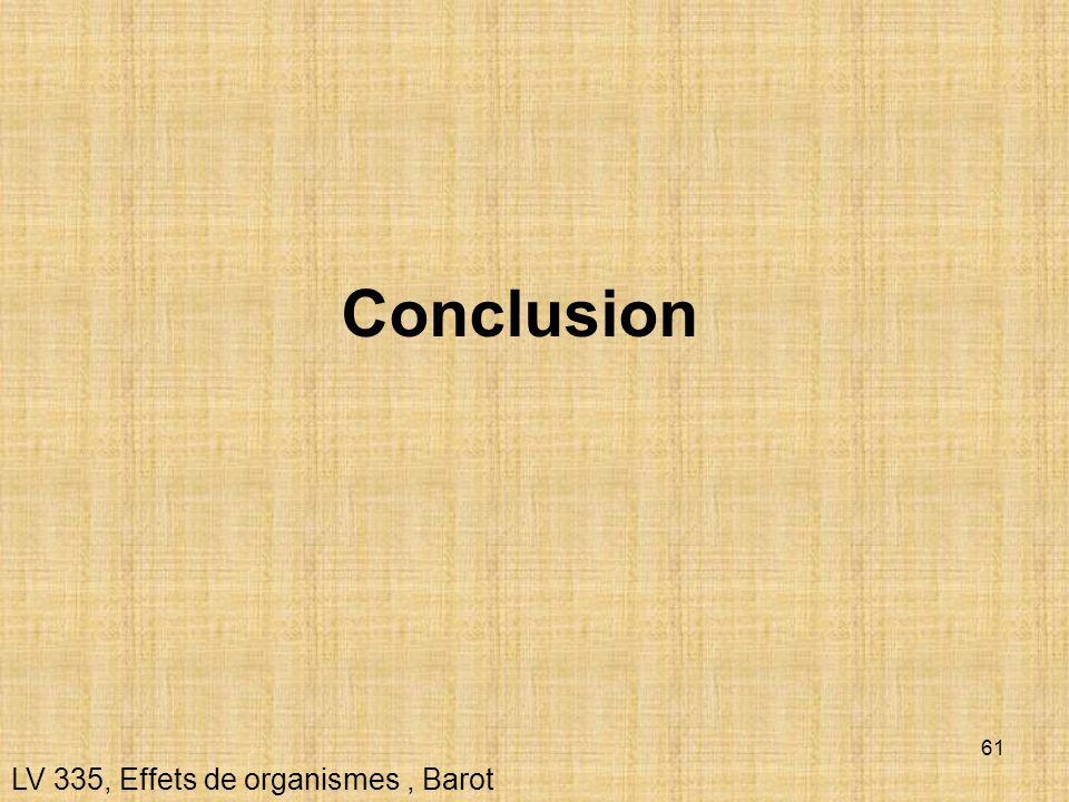 Conclusion LV 335, Effets de organismes , Barot