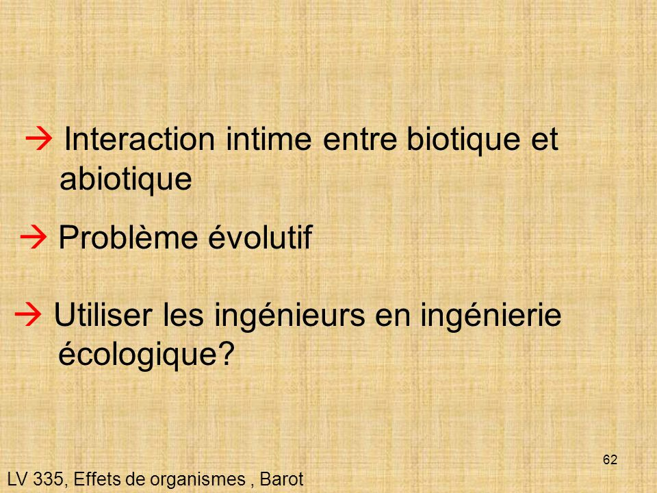  Interaction intime entre biotique et abiotique