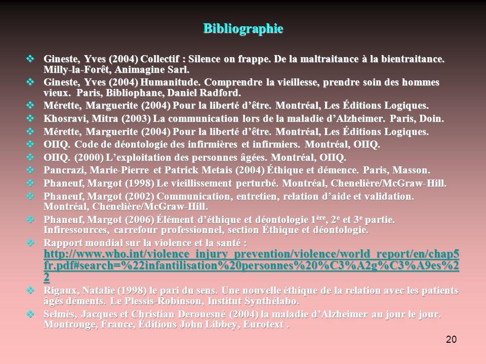 Bibliographie Gineste, Yves (2004) Collectif : Silence on frappe. De la maltraitance à la bientraitance. Milly-la-Forêt, Animagine Sarl.