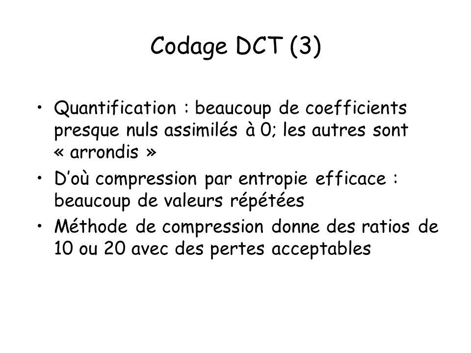 Codage DCT (3) Quantification : beaucoup de coefficients presque nuls assimilés à 0; les autres sont « arrondis »