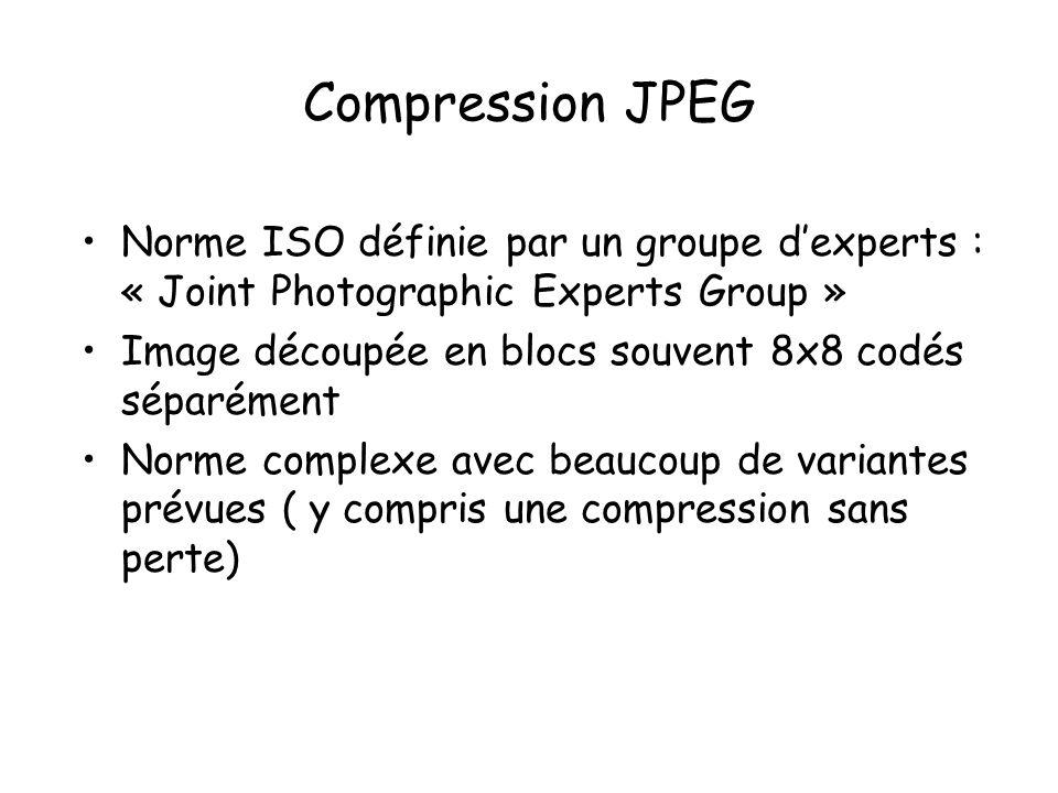 Compression JPEG Norme ISO définie par un groupe d'experts : « Joint Photographic Experts Group »