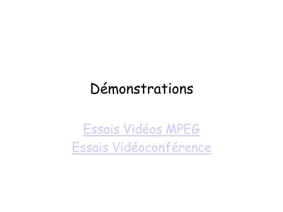 Essais Vidéos MPEG Essais Vidéoconférence