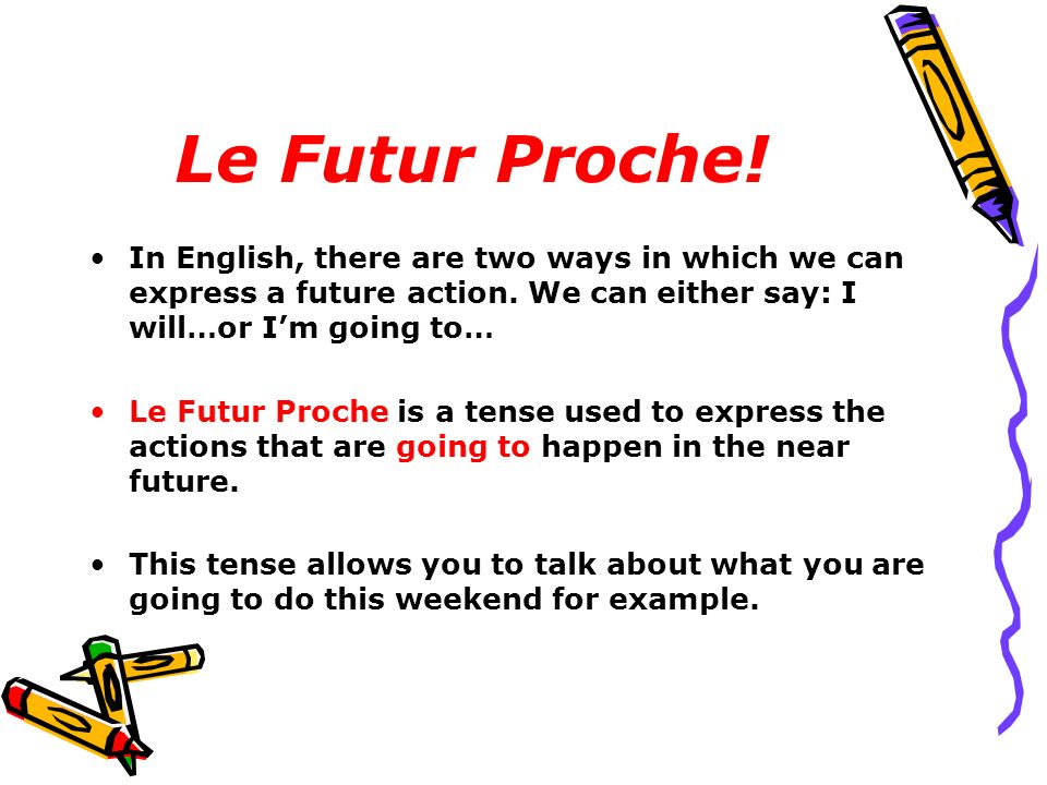 Le Futur Proche! In English, there are two ways in which we can express a future action. We can either say: I will…or I'm going to…